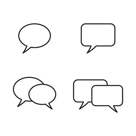 Set of speech bubbles. Vector line icon. 일러스트