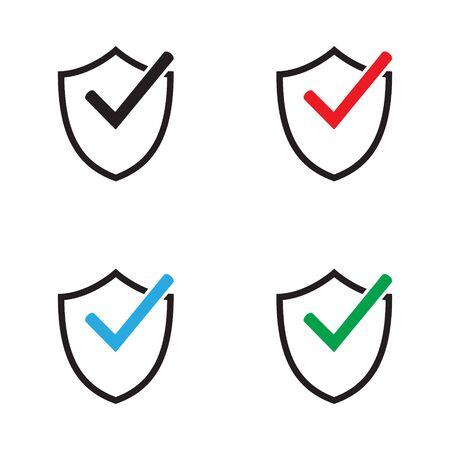Shield with checkmark symbol. Tick shield security icon. Vector icon.
