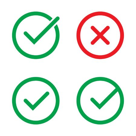 Tick and cross signs. Green checkmark and red X icons, isolated on white background. Ilustración de vector