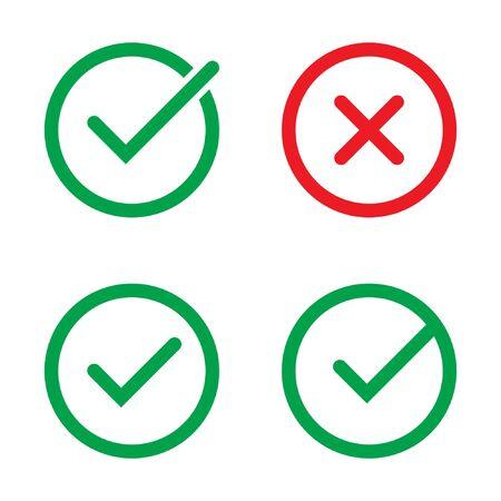 Vink en kruis tekenen. Groen vinkje en rode X-pictogrammen, geïsoleerd op een witte achtergrond. Vector Illustratie