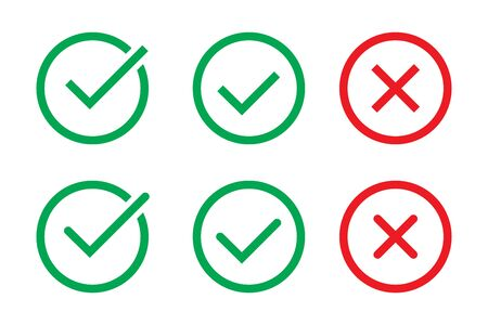 Green Check Mark and Red Cross in two variants (square and rounded corners), isolated vector illustration