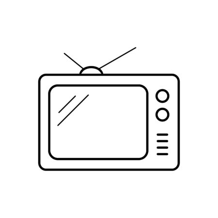 Tv icon outline television line old tv symbol vector image