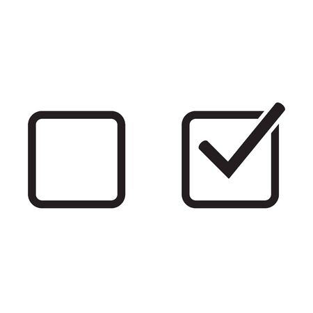 Checkbox set with blank and checked checkbox vector icon. Verify icon. 벡터 (일러스트)