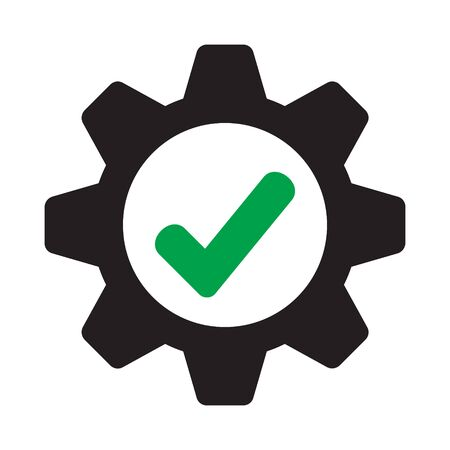 Cog check icon. Compliance icon. Approved Service sign.
