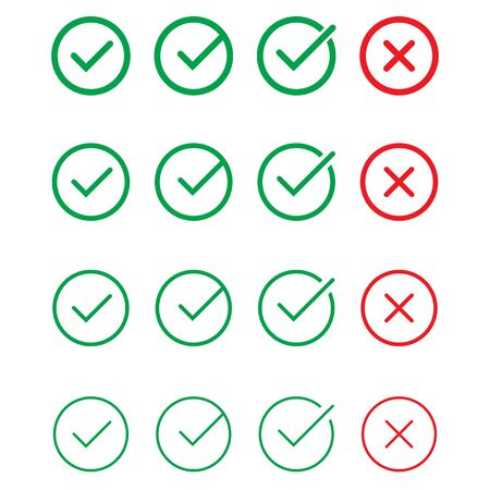 Tick and cross signs. Green checkmark and red X icons, isolated on white background.