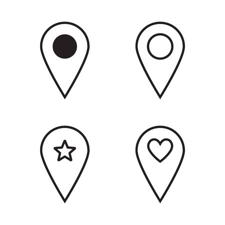Map pointer icons set. Map pointer with heart icon isolated on white background. Valentines day. Love location. Romantic map pin. 일러스트