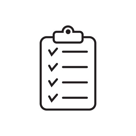 Checklist icon isolated on background. Clipboard line icon. Checklist sign symbol for website and app design. 일러스트