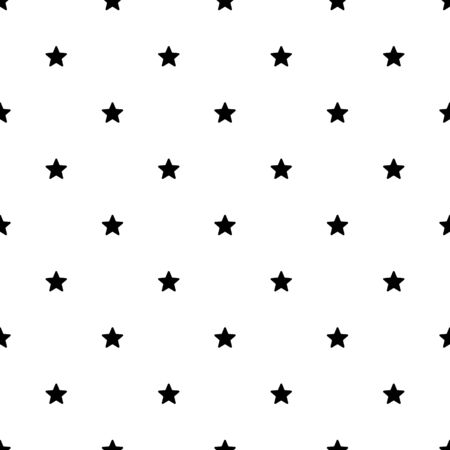Seamless Star Pattern. Black and white vector illustration