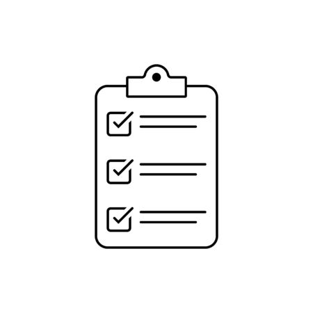 Checklist icon isolated on background. Clipboard line icon. Checklist sign symbol for web site and app design. 일러스트