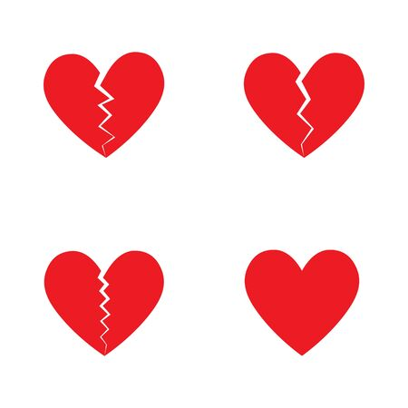 Broken Heart vector icon. Set of red hearts, love icons vector set