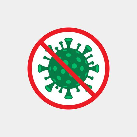 Stop coronavirus. Sign caution COVID-19. Coronavirus danger. Pandemic medical concept with dangerous cells. Vector illustration