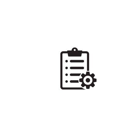 Clipboard with gear isolated icon. Technical support check list icon. Management flat icon concept. Software development. Ilustração
