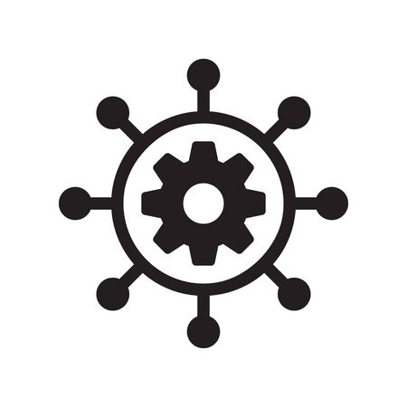 Project management vector icon. filled flat sign for mobile concept and web design. Hub and spokes and gear solid icon. Symbol illustration.
