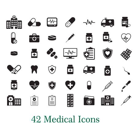 Medical vector icon set, medicine and health care, pill icon isolated on white background.