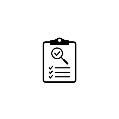 Clipboard with magnifier icon, Clipboard and magnifying glass icon symbol for website and app design. Vector illstration.