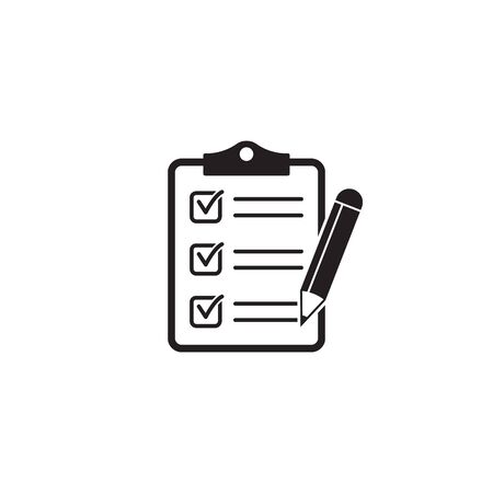 Clipboard pencil vector icon. Black illustration isolated on white background for graphic and web design. Çizim