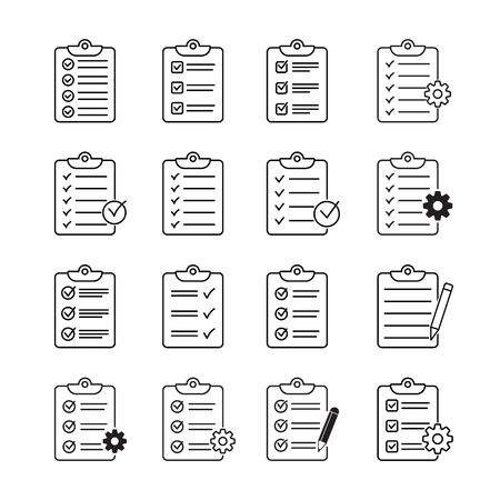 Set of clipboard with checklist icons, symbol for web site and app design. Vector illstration. Ilustrace