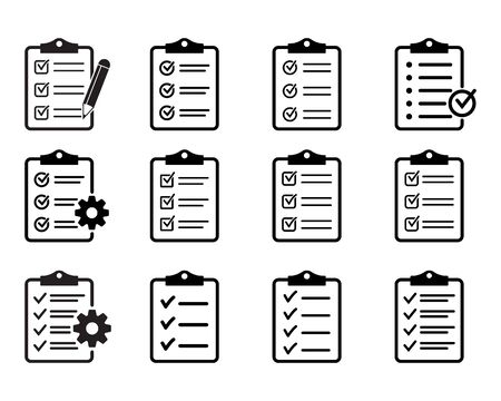 Set of clipboard with checklist icons, symbol for web site and app design. Vector illustration.