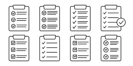 Set of clipboard with checklist icons, symbol for web site and app design. Vector illstration. 向量圖像