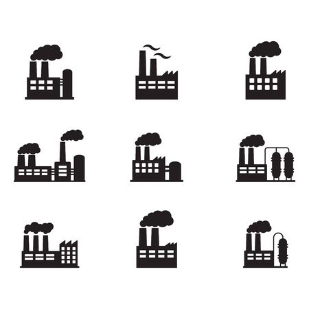 Factory icon. Vector illustration of industry icon. Vettoriali
