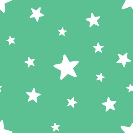 Vector seamless star pattern, star background in soft green color.
