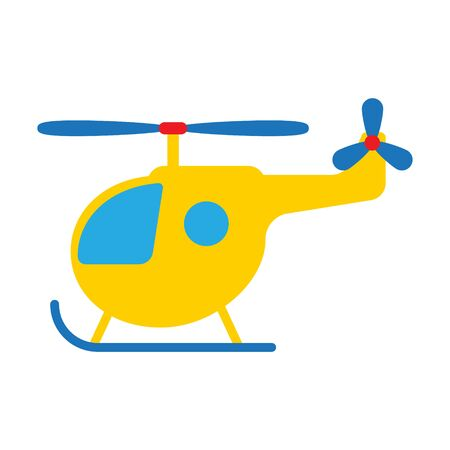Cartoon toy helicopter flat vector illustration.
