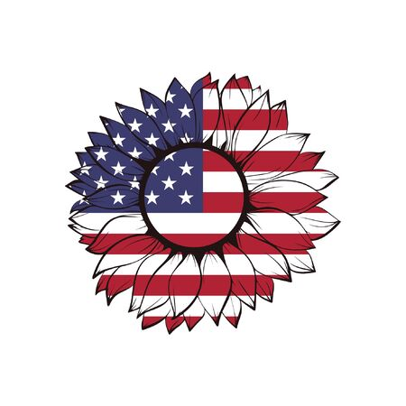 USA flag in sunflower, 4th of july, patriotic, fourth of july, america, us
