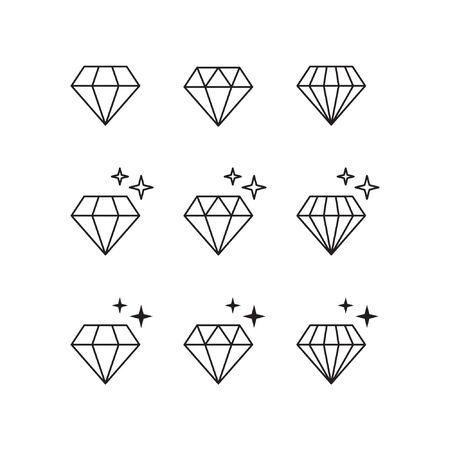 Diamond vector icons set
