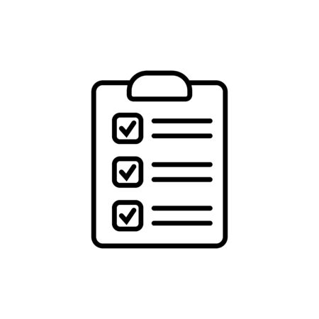 Clipboard with checklist icon, symbol for web site and app design. Vector illustration.