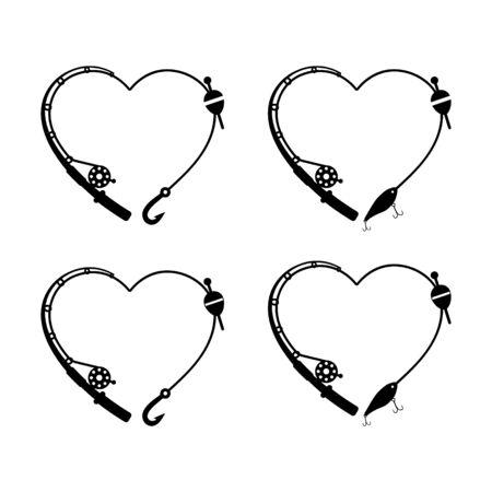 Heart fishing rod vector illustration, good for gift idea for fisherman. 向量圖像
