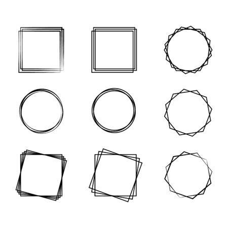 Geometric frames, set of frames, vector illustration