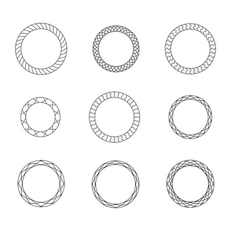 Set of black vintage circular frames with ornament. A set of abstract black symbols. Collection of retro banners. Circle empty templates with place for information and text.