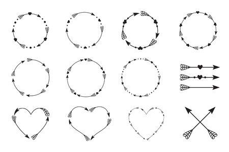 Arrows set, cross arrows, circle arrows vector