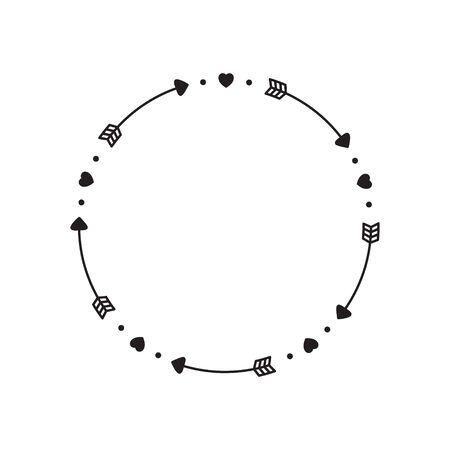 Circle Arrow, Arrow monogram frame vector illustration.