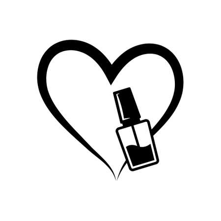 Nail polish love illustration, Manicure icon