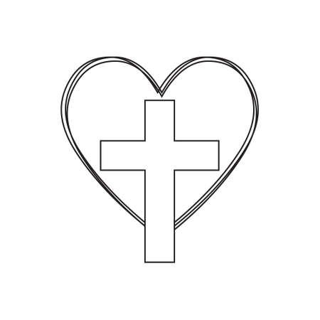 Christian cross in heart, Jesus Christ vector illustration.