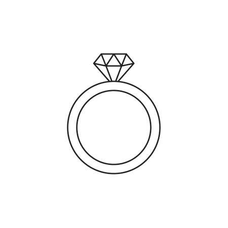 Wedding Ring With Diamond icon vector Illusztráció