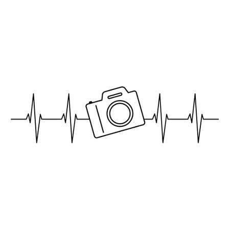 Camera Heartbeat vector illustration Vettoriali