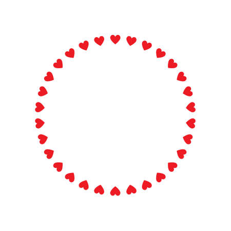 Round frame of hearts, isolated vector romantic round frames with hearts for decorating greeting cards, wedding invitations Ilustrace