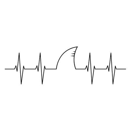 Shark heartbeats, Shark fin, heartbeat pulse.
