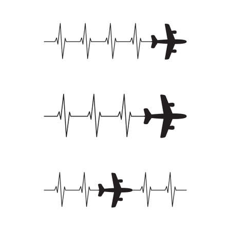 Airplane Heartbeat, family vacation, pilot plane, travel vector