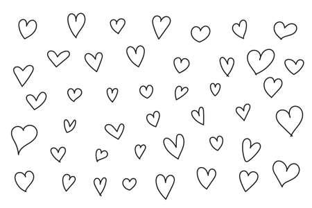 Hand drawn heart vector icon, doodle style set. Иллюстрация