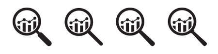 Analytic vector icons - magnifying glasses with bar chart Иллюстрация