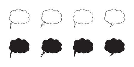 Speech or think bubble, empty communication cloud. Vector design element. Иллюстрация