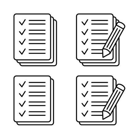 Checklist pencil icon. Pencil with paper icon, Contract vector icon. Test icon. Иллюстрация