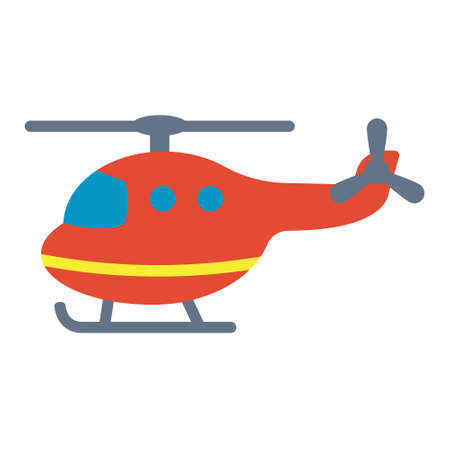 Cartoon toy rescue helicopter flat vector illustration.