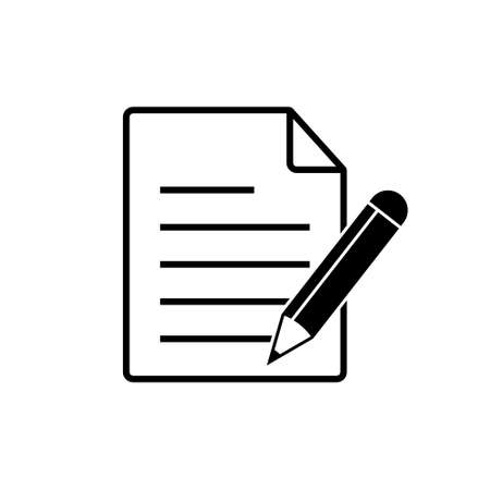 Paper with pencil icon, Document, contract vector icon.