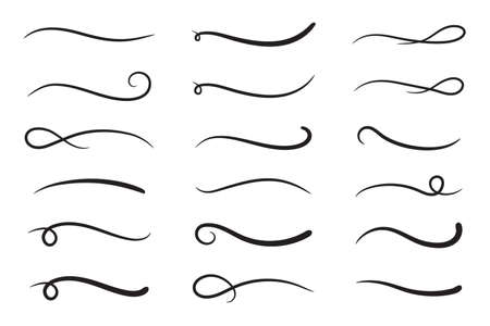 Hand drawn collection of curly swishes, swashes, swoops. Calligraphy swirl. Highlight text elements. Vector illustration.