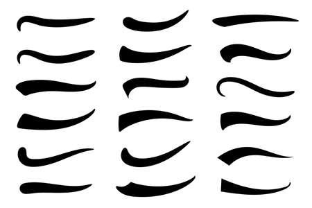 Swash and swooshes tails design template. Underlines lettering lines.