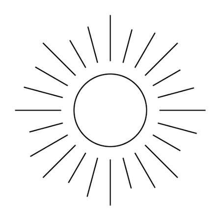 Retro Sun Ray, Sun Burst Emblem, Sunshine Sunburst, Isolated Vector Illustration